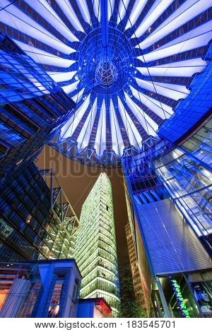 BERLIN GERMANY - APRIL 6: Sony centre at night in Potsdamer platz in Berlin on April 6 2017 in Berlin