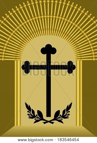 Funereal decoration with cross silhouette and laurel branches in luxurious golden gate, vector EPS 10
