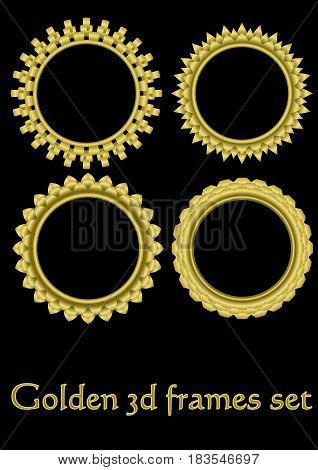 Circle golden frame set with 3d effect, gorgeous luxury metallic frames, vector EPS 10