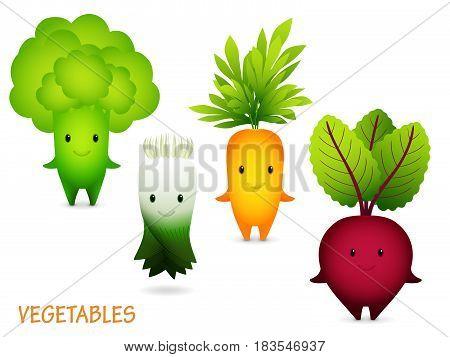 Cartoon Characters. Green Broccoli, leek carrot beet
