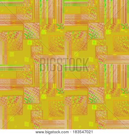 Abstract geometric seamless background. Intricate squares pattern in yellow, orange, pink, violet and light green shades.