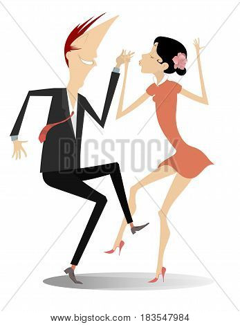 Dancing young couple isolated. Romantic dancing man and woman
