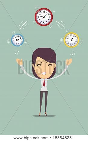 illustration of a smiling cartoon Businesswoman juggling with clocks, symbolizing time management. Stock flat vector