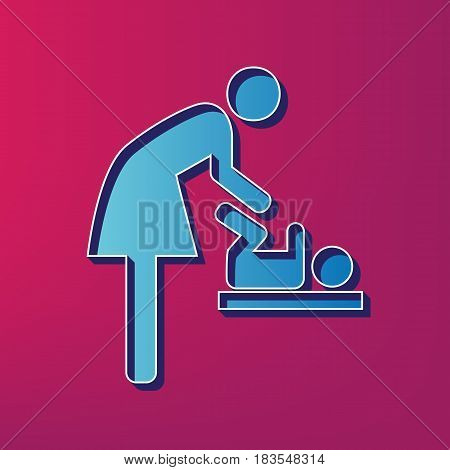 Women and baby symbol, baby changing. Vector. Blue 3d printed icon on magenta background.