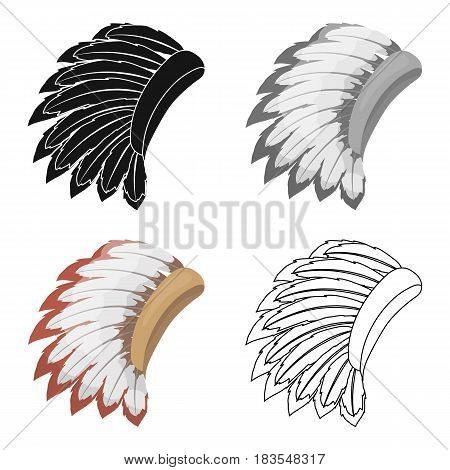 War bonnet icon in cartoon style isolated on white background. USA country symbol vector illustration.