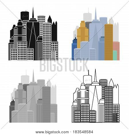 Megalopolis icon in cartoon style isolated on white background. USA country symbol vector illustration.