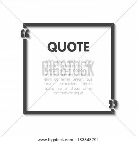 Quote Bubble Blank Templates. Empty Business Card, Paper Sheet, Information, Text. Realistic 3D Shad
