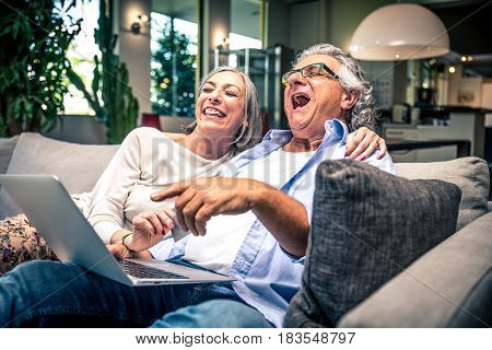 Senior Happy Couple Using Laptop At Home