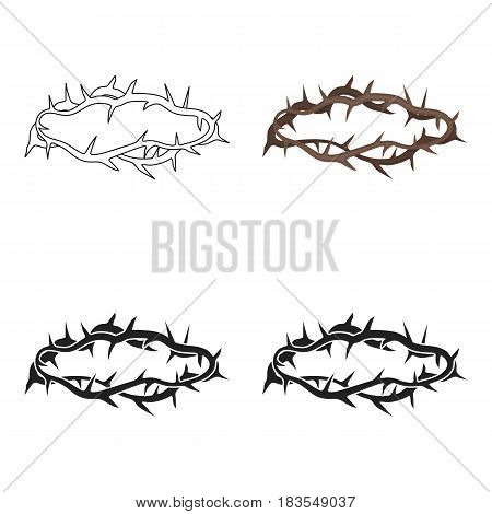 Crown of thorns icon in cartoon style isolated on white background. Religion symbol vector illustration.
