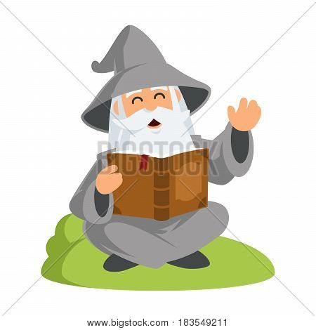 Friendly wizard, he is reading a book