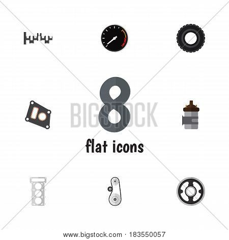 Flat Auto Set Of Packing, Steels Shafts, Belt And Other Vector Objects. Also Includes Pulley, Wheel, Tachometr Elements.