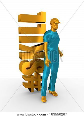 Young man wearing apron. Bearded worker at skill word. 3D rendering. Metallic material. Hashtag symbol