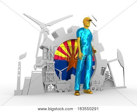 Young man wearing apron. Bearded worker at industrial isometric icons set with Arizona flag. 3D rendering. Metallic material. Energy generation and heavy industry.