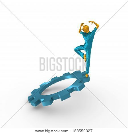 Young man wearing apron. Worker model dancing on the gear. 3D rendering. Metallic material.