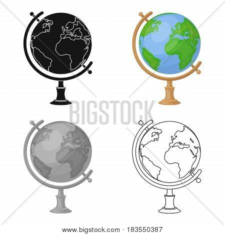 Globe icon in cartoon design isolated on white background. Rest and travel symbol stock vector illustration.