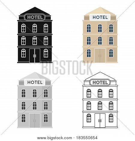 Hotel building icon in cartoon design isolated on white background. Rest and travel symbol stock vector illustration.