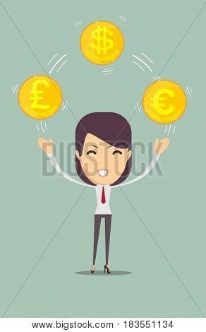 young business woman holding money. Stock vector illustration for poster, greeting card, website, ad, business presentation, advertisement design.