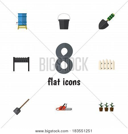Flat Farm Set Of Pail, Flowerpot, Trowel And Other Vector Objects. Also Includes Shovel, Trowel, Water Elements.
