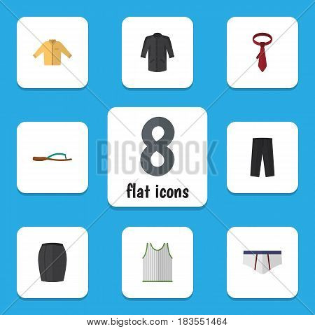 Flat Clothes Set Of Underclothes, Uniform, Stylish Apparel And Other Vector Objects. Also Includes Kimono, Sandal, Tie Elements.