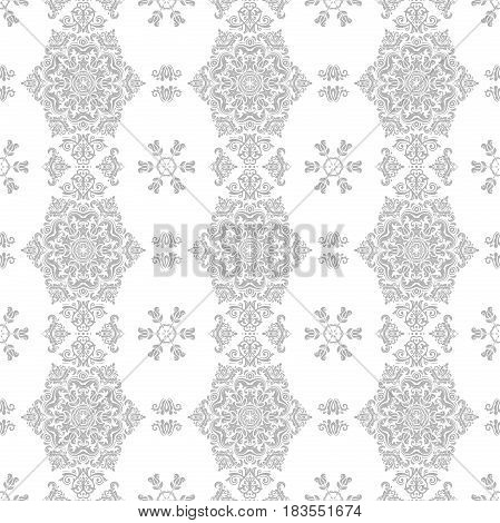Seamless classic light silver pattern. Traditional orient ornament