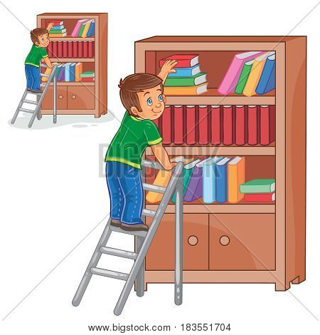 Vector illustration of a little boy standing on the ladders and stacking books in a bookcase. Print