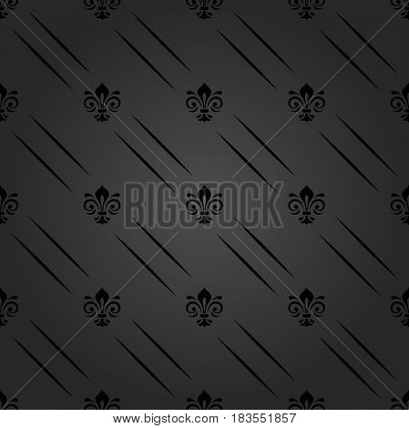 Seamless dark ornament. Modern geometric pattern with royal lilies and diagonal lines