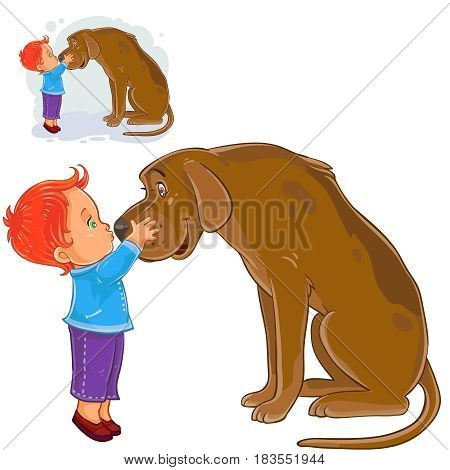 Vector illustration of a little boy hugging head and kissing nose his dog s . Print