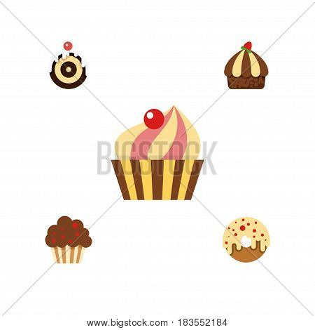 Flat Cake Set Of Muffin, Doughnut, Cupcake And Other Vector Objects. Also Includes Cupcake, Pastry, Muffin Elements.