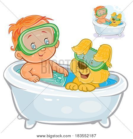 Vector illustration of a small child in a swimming circle and a diving mask bathes in bathtub with his dog. Print
