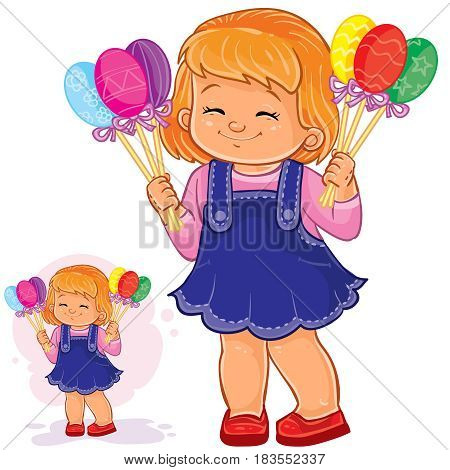 Vector Easter illustration of a little girl holding in her hands decorative eggs on sticks. Print