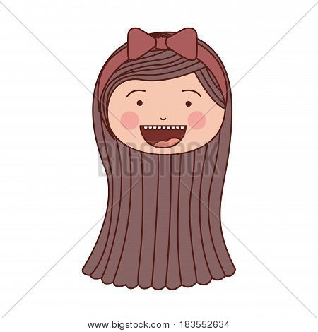 color silhouette smile expression cartoon front face girl brown hair and pink bow lace vector illustration