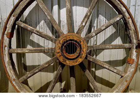An old wooden wheel with wood spooks and hub used on a wagon or trailer
