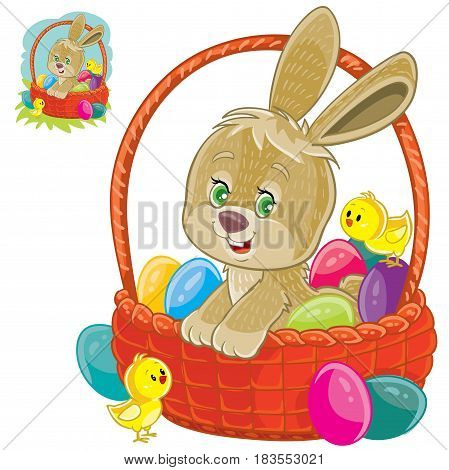 Vector illustration of an easter bunny sitting in a basket for easter hunting with decorated eggs and yellow chickens. Print