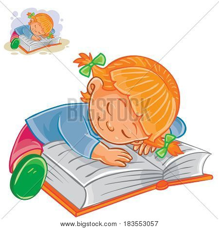 Vector illustration of a little girl reading a book and falling asleep on it. Print
