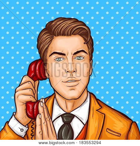 Vector pop art illustration of a businessman talking on a retro phone and covering a microphone with his hand
