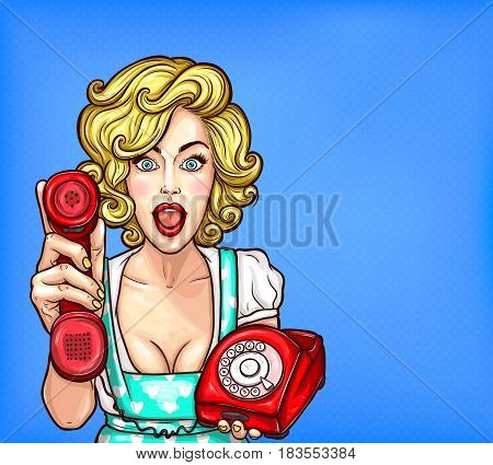 Vector pop art illustration of a beautiful blonde girl with a retro phone surprised by a good phone customer service