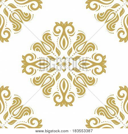 Seamless classic white and golden pattern. Traditional orient ornament