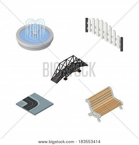 Isometric Architecture Set Of Expressway, Park Decoration, Turning Road And Other Vector Objects. Also Includes Barricade, Seat, Suspension Elements.