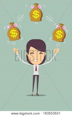 Cartoon businesswoman holding money bag. Stock vector illustration for poster, greeting card, website, ad, business presentation, advertisement design.