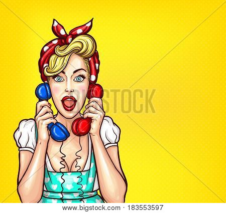 Vector pop art illustration of an excited surprised blond woman with a two telephone receiver in her hand. Excellent advertising poster with the announcement of discounts and sales