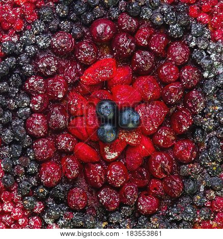 Texture background berry pie. Berries Strawberries cherries blueberries cranberries currants.Top view