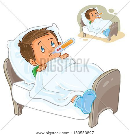 Vector illustration of a sick little boy lies in bed with a thermometer. Print