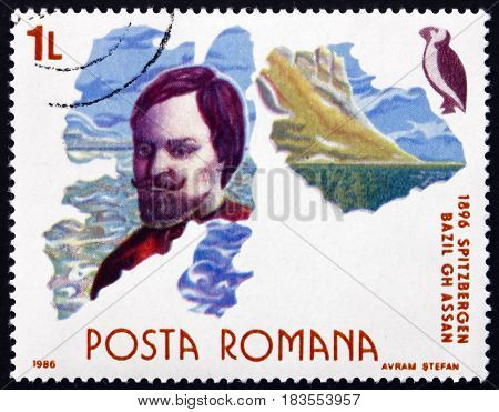 ROMANIA - CIRCA 1986: a stamp printed in Romania shows Bazil G. Assan Romanian Engineer and Explorer Exploration of Spitzbergen Polar Research circa 1986
