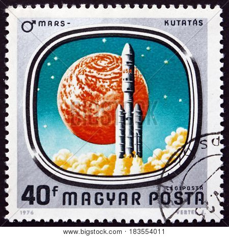 HUNGARY - CIRCA 1976: a stamp printed in Hungary shows US Mars Mission Exploration of Mars circa 1976