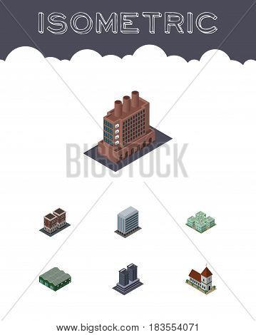 Isometric Urban Set Of House, Warehouse, Office And Other Vector Objects. Also Includes Home, Chapel, Building Elements.