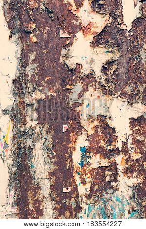 Creative Metal Background. Old Metal Background With Scraps Of Paper Ads. Flat Background Texture Of
