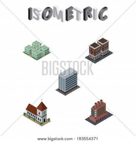 Isometric Building Set Of Office, Industry, Clinic And Other Vector Objects. Also Includes Factory, Home, Office Elements.