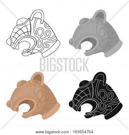 Animal head of viking's ship icon in cartoon design isolated on white background. Vikings symbol stock vector illustration.