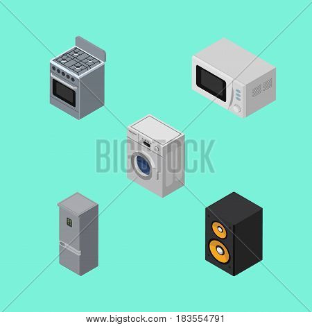 Isometric Device Set Of Stove, Kitchen Fridge, Laundry And Other Vector Objects. Also Includes Cooker, Machine, Fridge Elements.