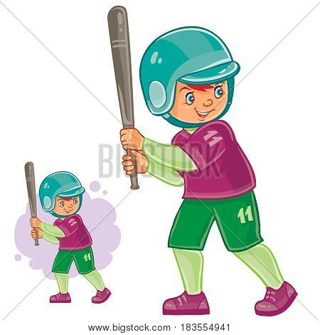 Vector illustration of little child playing baseball. Batter is ready to hit the ball. Print